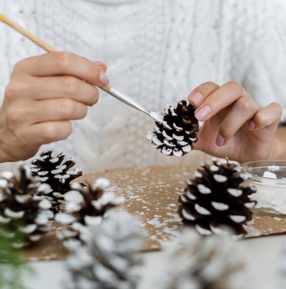 Decorated pine cones